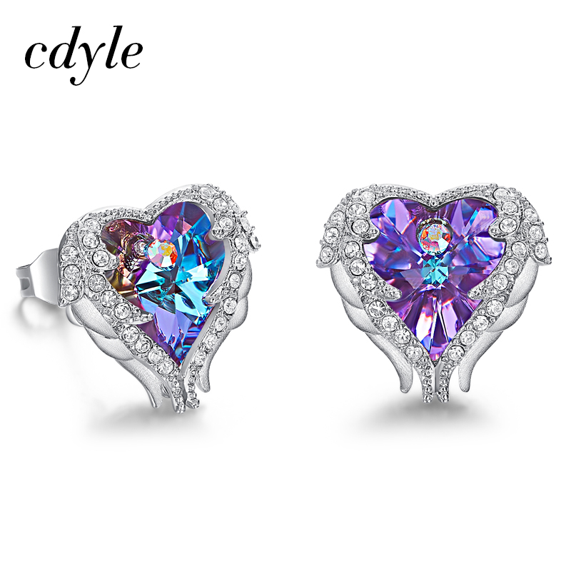Cdyle Hot Sale Romantic Jewelry Stud Earrings For Wedding Crystals from Swarovski Elegant Angle Heart Earring