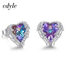 Cdyle Лидер продаж романтические украшения серьги гвоздики для свадьбы кристаллами от Swarovski элегантный Угол Сердце дропшиппинг