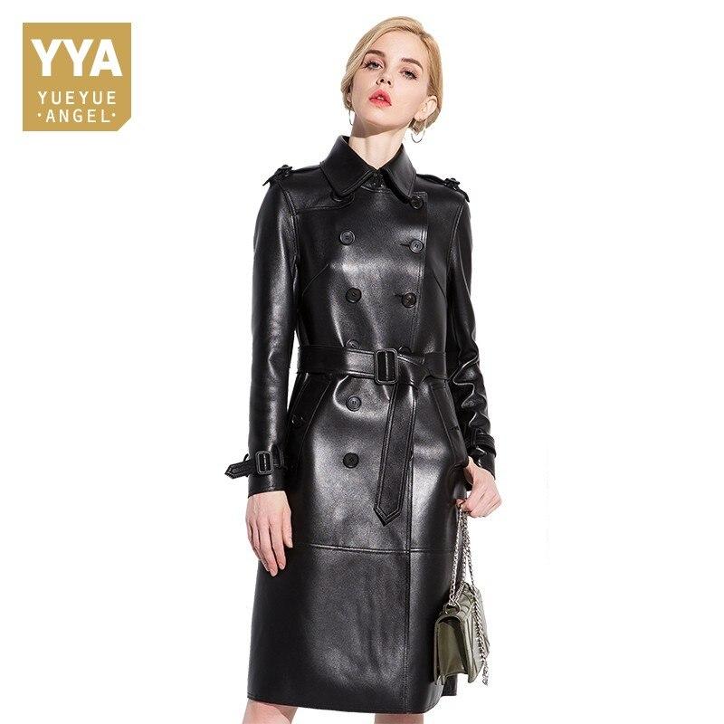 f5d3228f 2019 chaqueta de cuero genuino de moda para mujer abrigos de piel de oveja  Natural con cinturón ...