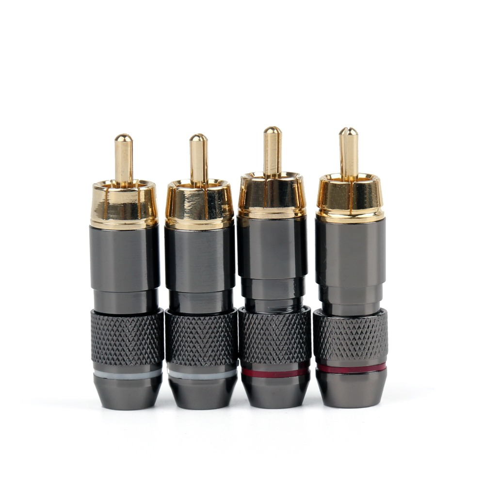 Areyourshop Hot Sale 4PCS Copper RCA Plug Gold Plated Audio Video Adapter Connectors Soldering hot 4pcs copper gold plated tuning fork banana y spade plug adapter av audio terminals connectors for speaker cable power