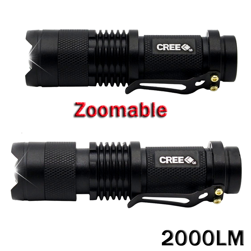 Galleria fotografica 3pcsMini Torche 2000 Lumens Flashlight Led Linterna Potente CREE Q5 LED Gladiator Flashlight 3 Modes Zoomable LED Torch Penlight