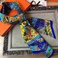 Marca Nuevo de Las Mujeres de Doble Bufanda de Seda twill Moda Ropa de Mujer Accesorios Modelo Geométrico Larga Cinta BY1722416
