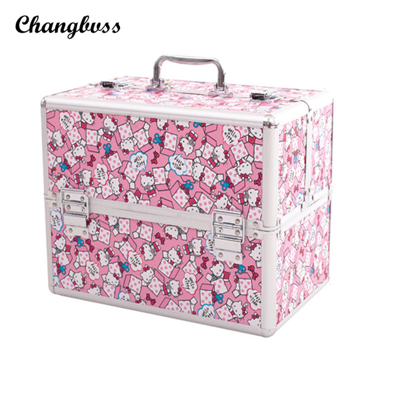 Super Lovely Pink Cute Cat Women Cosmetic Bag Travel Potable Makeup Organizer Case Professional Make UP Storage Bags neceser msq make up bag pink and portable cosmetic bags for professional makeup artist toiletry case new arrival