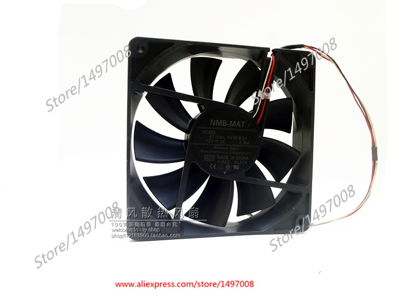 NMB-MAT 4710KL-04W-B39, B01 DC 12V 0.36A, 120x120x25mm  80mm Server Square  fan nmb mat 3110kl 04w b49 b02 b01 dc 12v 0 26a 3 wire server square fan
