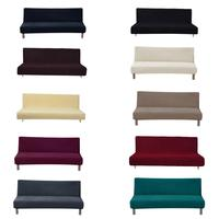 Universal Solid Anti dirty Black Armless Couch Sofa Covers For Living Room Stretch Sofa Bed Covers Elastic Sofa Bed Slipcovers