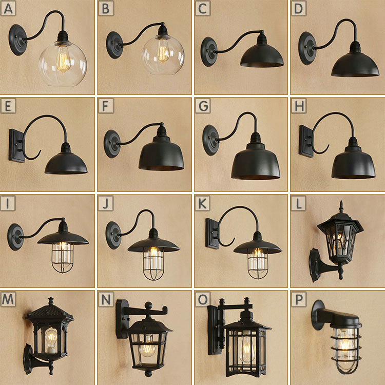 AC 110v-240v Indoor Outdoor Vintage Waterproof Wall Lamp E27 Led Bulb Black Metal Body Warm White Light Foyer BedRoom Diningroom e27 12 led 3500k 60 lumen light bulb warm white 180 240v ac