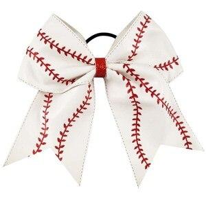 """Image 3 - 7 """"Baseball skórzana Cheer Bow z gumką dla dziewczynek dzieci Handmade Softball brokat cheerleaderek łuk akcesoria do włosów 10 sztuk"""
