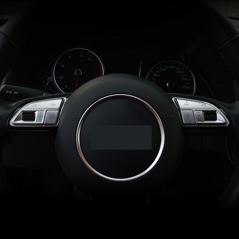 Chrome ABS Steering Wheel Buttons Sequins Decoration Cover Trim For Audi A3 8V A4 B8 B9 Q3 Q5 A1 A5 A6 A7 Car Accessories 3