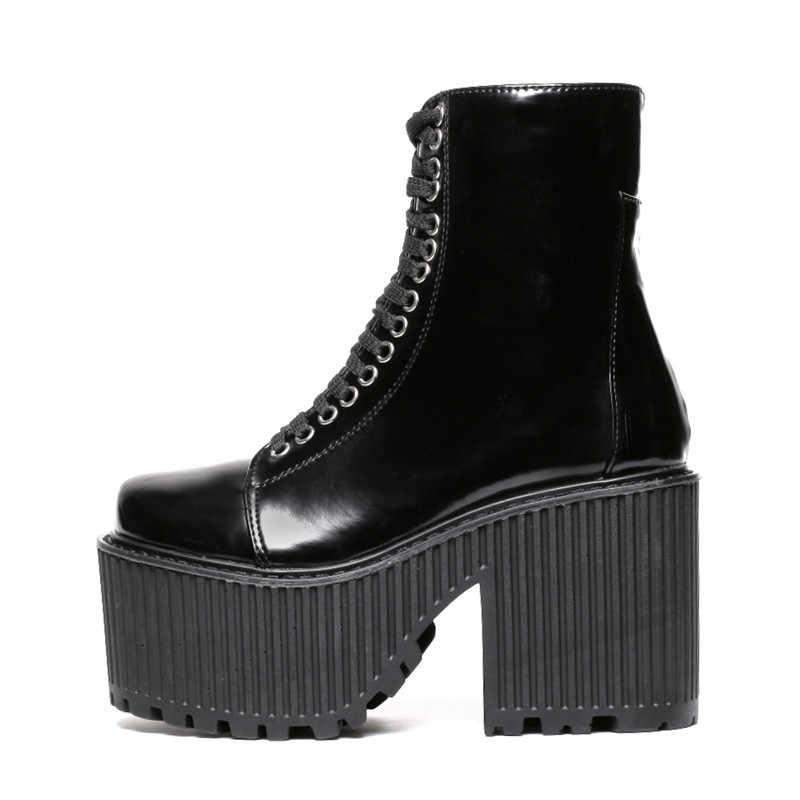Prova perfetto Moda yarım çizmeler Kadın platform ayakkabılar Punk Gotik Tarzı Kauçuk Taban Lace Up Siyah Bahar Tıknaz Çizmeler Kadın