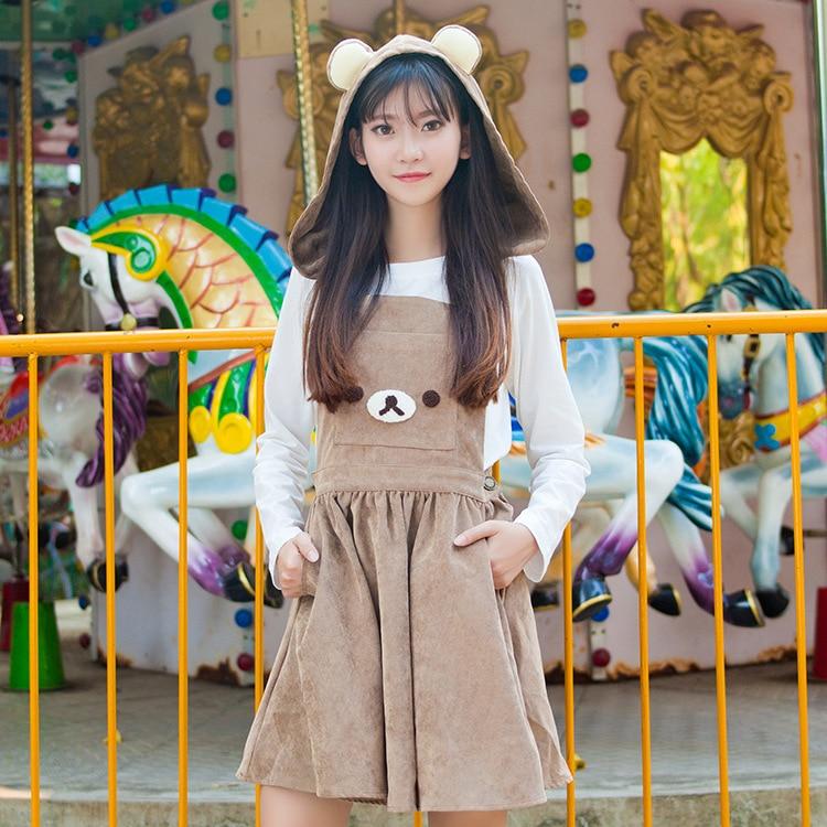 Podzimní sukně Soft Sister Amime Cute Bear Uši Hood Brown Cute Jumper Sukně Lolita Cute Japanese Suspender Strap Embroidery JSK