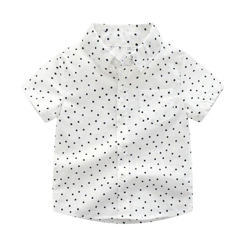 Boys Shirts Tops Short-Sleeve Baby Kids Fashion Cotton Children Summer for 1-6T Polka-Dot