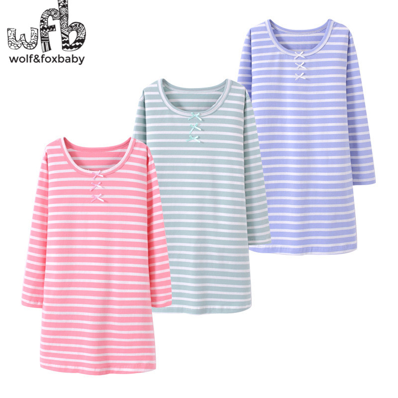 Retail 3-14 Years Long-sleeves Cotton Children's Home Wear Nightdress Girl Kids Pajamas Autumn Fall Spring Stripped