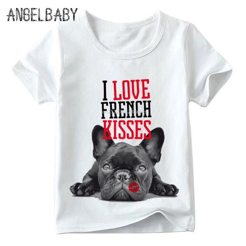 FleißIg Kinder Französisch Bulldog Küsse Drucken T Shirt Sommer Kinder Casual Kurzarm Tops Baby Jungen/mädchen Lustige Hund T-shirt, Hkp2123 Auswahlmaterialien