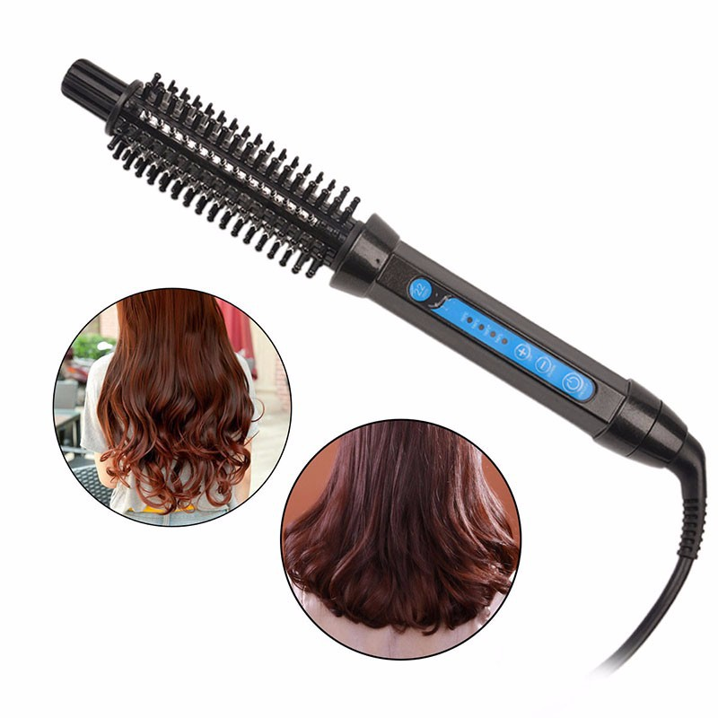 2 In 1 Multifunction Electric Hair Curler Straightener Women Temperature Control Styling Tool Hair Curling Round Brush Freeship electric hair styling tool electric adjustable corrugated waver hair curler