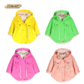 2016 New Spring Autumn Hooded Kids Jackets Long Sleeve Polka Dot Print Fashion Girls Windbreaker Coat Casual Waist Girls Jackets