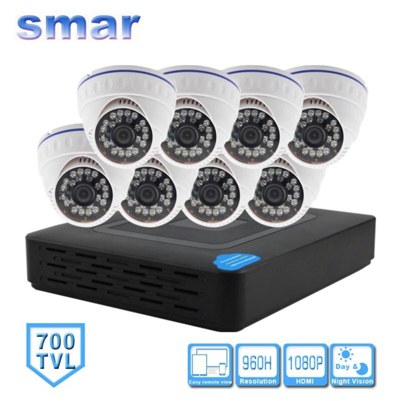 Smar 8CH CCTV System 8 Channel HDMI DVR 8PCS 700TVL IR Day Night Security Camera Home