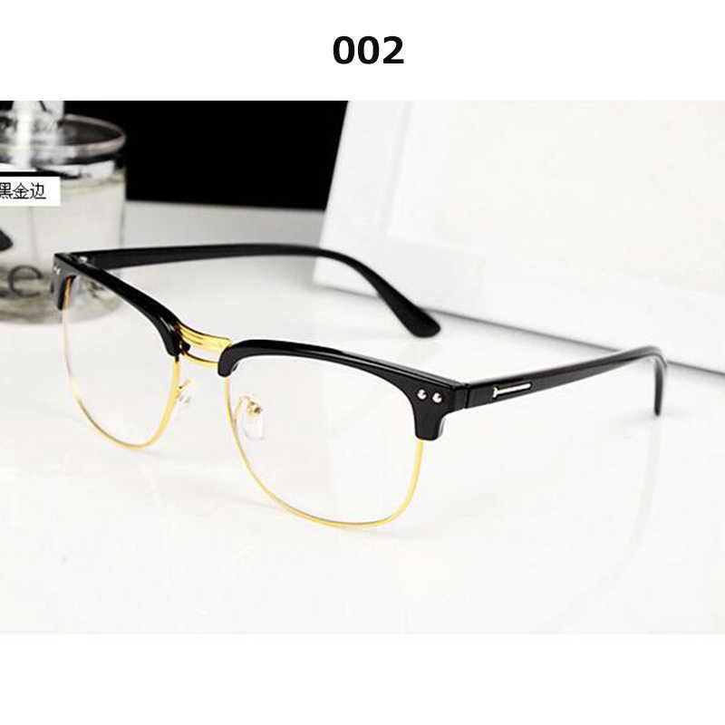 Retro optik kacamata Setengah bingkai bingkai pria vintage kacamata resep kacamata perempuan kacamata bingkai