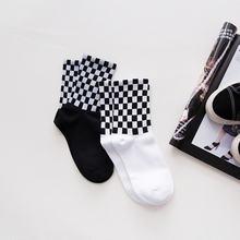 2 пара/лот женские носки Харадзюку черно белые клетчатые квадратные