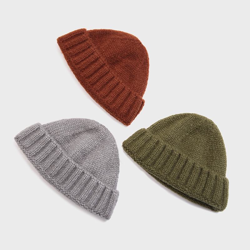 Unisex Ribbed Knitted Cuffed Short Melon Cap Solid Color  Melon Hat Skullcap Baggy Retro Ski Fisherman Docker Beanie Hat Slouchy