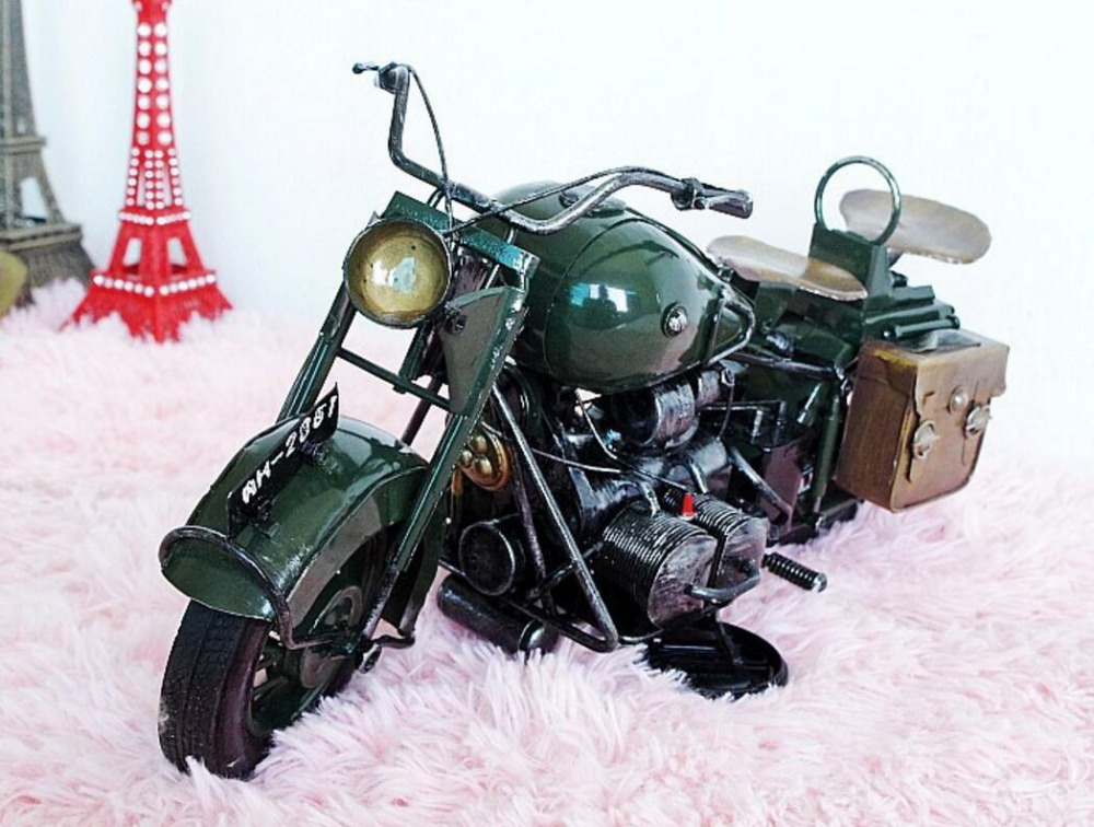 vintage Distressed antique retro classic military motorcycle  hand-made craft model for home coffee bar ornaments decoration