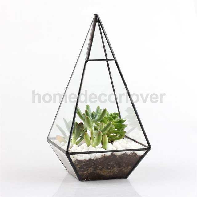 Online Shop Vintage Glass Geometric Terrarium Box Tabletop Succulent