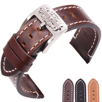 Retro Genuine Leather Watchbands 20mm 22mm Vintage Watch Band Strap For Seiko For Tissot Omega Bracelet