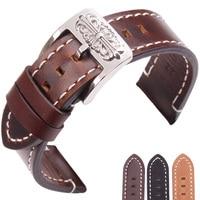 Retro Genuine Leather Watchbands 20mm 22mm Vintage Watch Band Strap For Seiko For Tissot Omega Bracelet