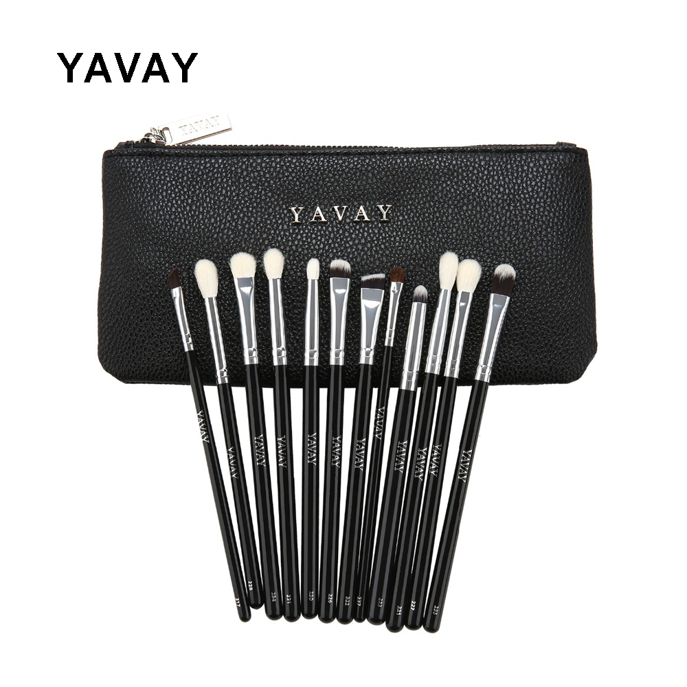 YAVAY 12 UNIDS Lujo profesional completo maquillaje de ojos cepillo Set Eyeshadow Eyeliner Blending Pencil Make Up Brushes Real Photo