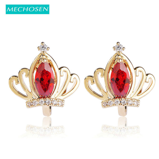 Mechosen Elegant Crown Clip Earrings For Women Red Crystal Gold Color Brincos Cartilage Orni Without Piercing