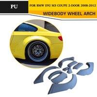 גלגל רכב צד גלגל קשת אבוקות דפוס פגוש כיסוי מגני בץ בוץ דשים גבות עבור BMW E92 M3 קופה 08-12 גריי PU גריי