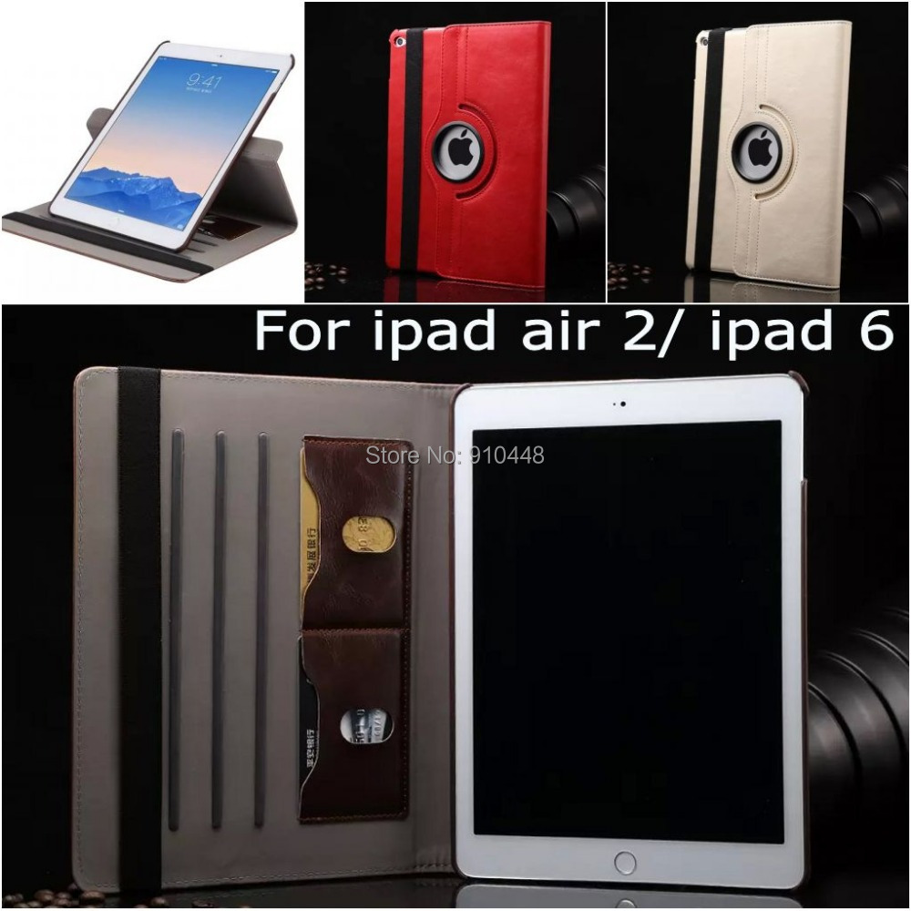 Fashion Rotating Wallet with ID card Folding Book high quality leather stand holder case smart cover for Ipad air 2 ipad 6 ipad6