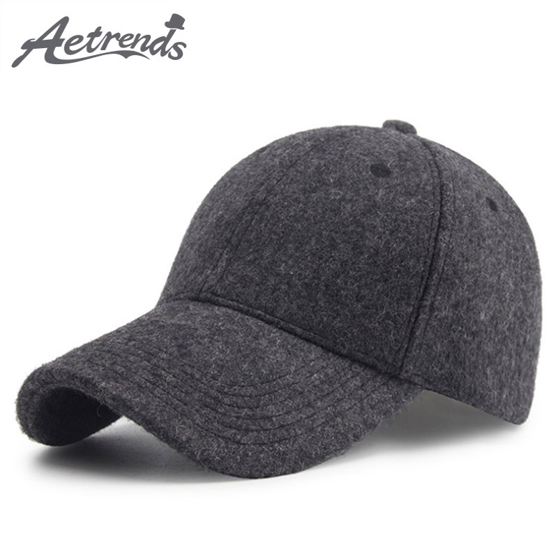 [AETRENDS] 2018 Winter Wool   Cap   Men   Baseball     Cap   Vintage Russia Hats for Men Thick Dad Hat   Baseball   Sport Brand Man   Caps   Z-6585