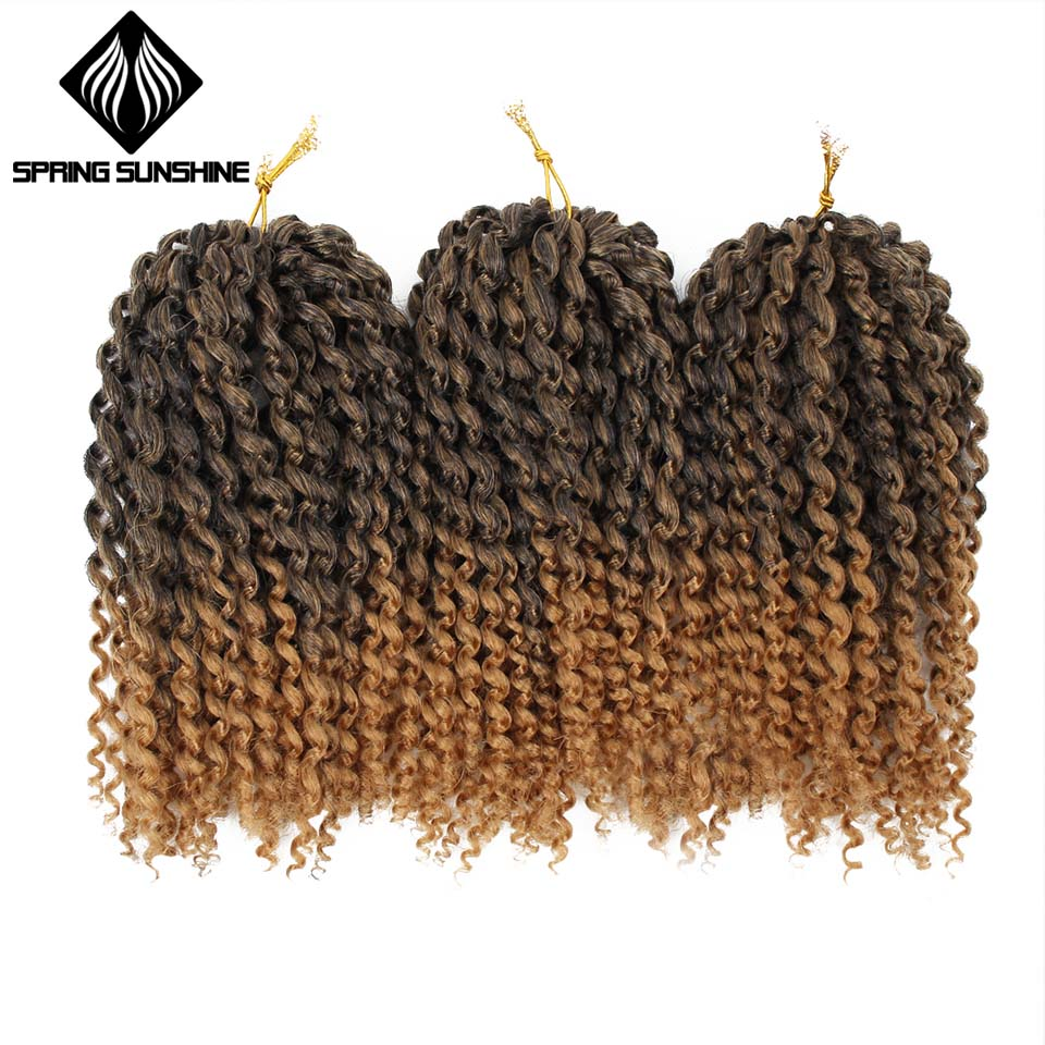 "Spring sunshine 8"" 1 pcs/set Golden Beauty Marley Braids Ombre hair Crochet Braid Synthetic Braiding Hair Extensions for Women"
