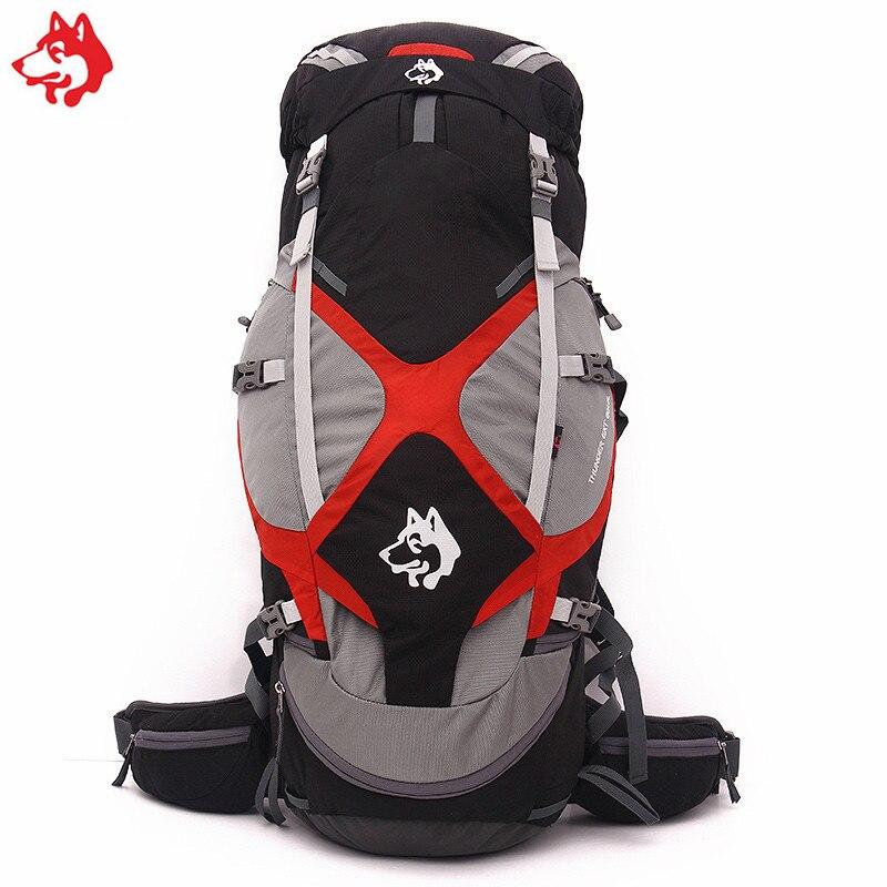 Nouveau design confortable noir/bleu/vert 60 + 5L sac de randonnée en plein air avec système de suspension trekking escalade camping sac à dos