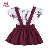 bcc4c925f (Ship from US) MUQGEW dress for girls 2Pcs Infant Baby Girls Floral Print  Rompers Jumpsuit Strap Skirt Outfits Set Cotton Short Sleeve Clothes