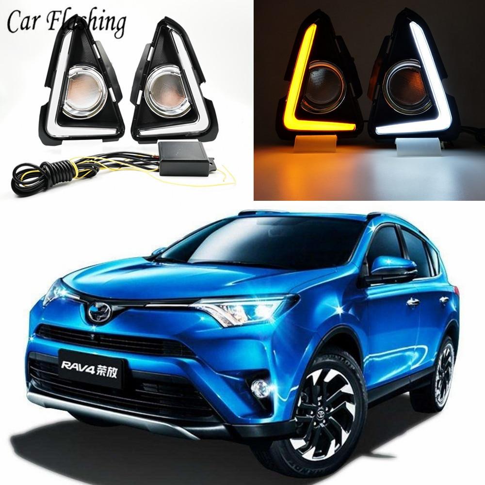 Car Flashing 2Pcs LED Daytime running light DRL bumper fog light cover driving lamp For Toyota