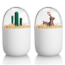 Multifunction Four Seasons Plant / Animal Toothpick Storage Jar Cotton Swab Box Debu-proof Small Container Container Home Organizer