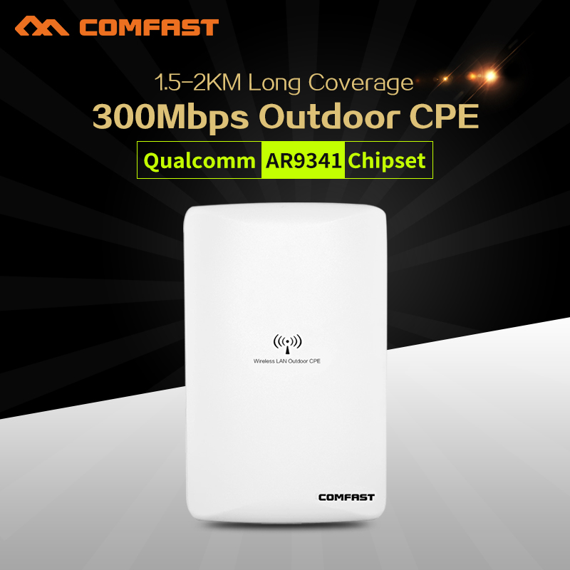 все цены на Comfast 300Mbps high power wireless bridge cpe router 2.4Ghz outdoor Access Point CPE wifi repeater with 2*16dBi WI-FI Antenna онлайн