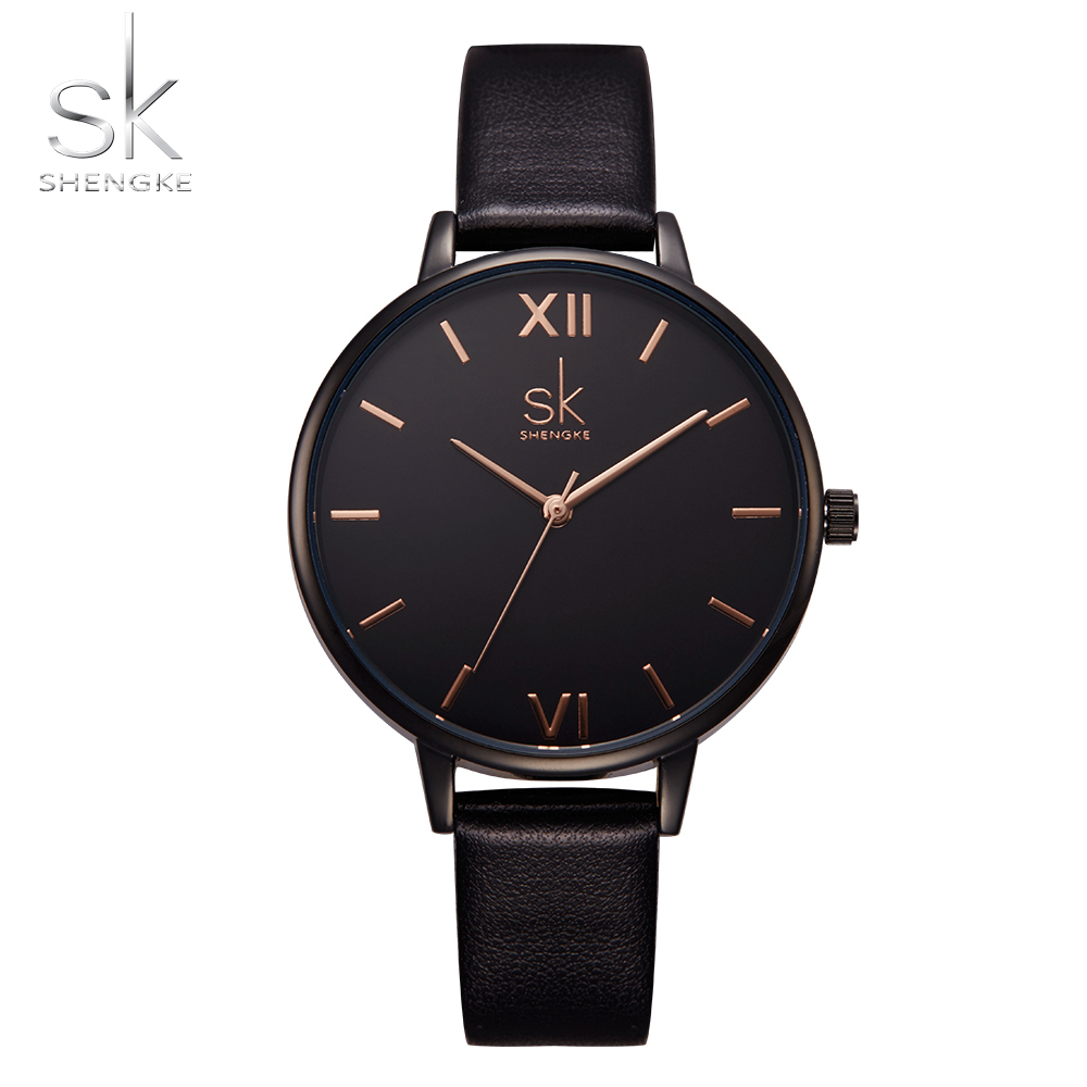 SK Leather Female Quartz Watch Women Top Brand Fashion Ladies Watches Thin Casual Strap Watch Reloj Mujer Marble Dial Clock Saat in Women 39 s Watches from Watches