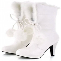 2017 Sweet Fur Ball Top Knot Warm White Fur Boots High Heels Snow Boots For Women