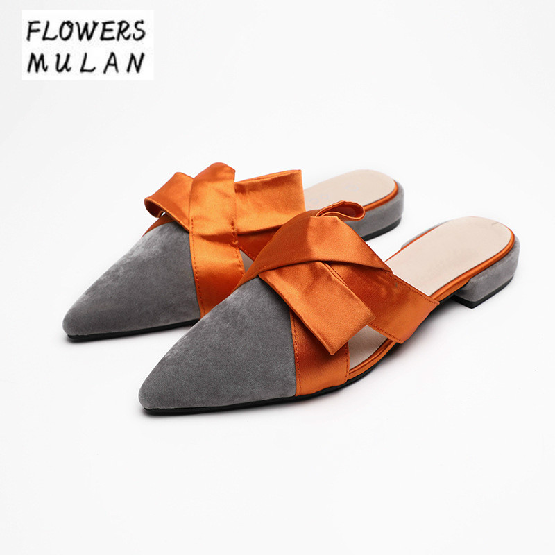 2018 New Mixed Color Women Mules Shoes Pointed Toe Slip On Low Chunky Heel Footwear Suede Upper Riband Knot Nude Loafers Woman european style fashion pointed toe shallow slip on strange women high heels shoes suede flock upper girl wedding nude footwear