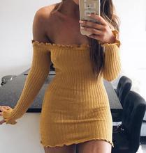 Модные тонкие Женщины Bodycon платье сплошной осень с плеча Slash шеи Сексуальная Основные Длинные рукава Брендовые платья vestidos для женщин