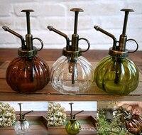 Da Antiguidade do vintage Cobre Regador Rega De Vidro Colorido Decorativo Ferramentas Bonsai Mini Pulverizador Da Pressão de Rega Latas Latas