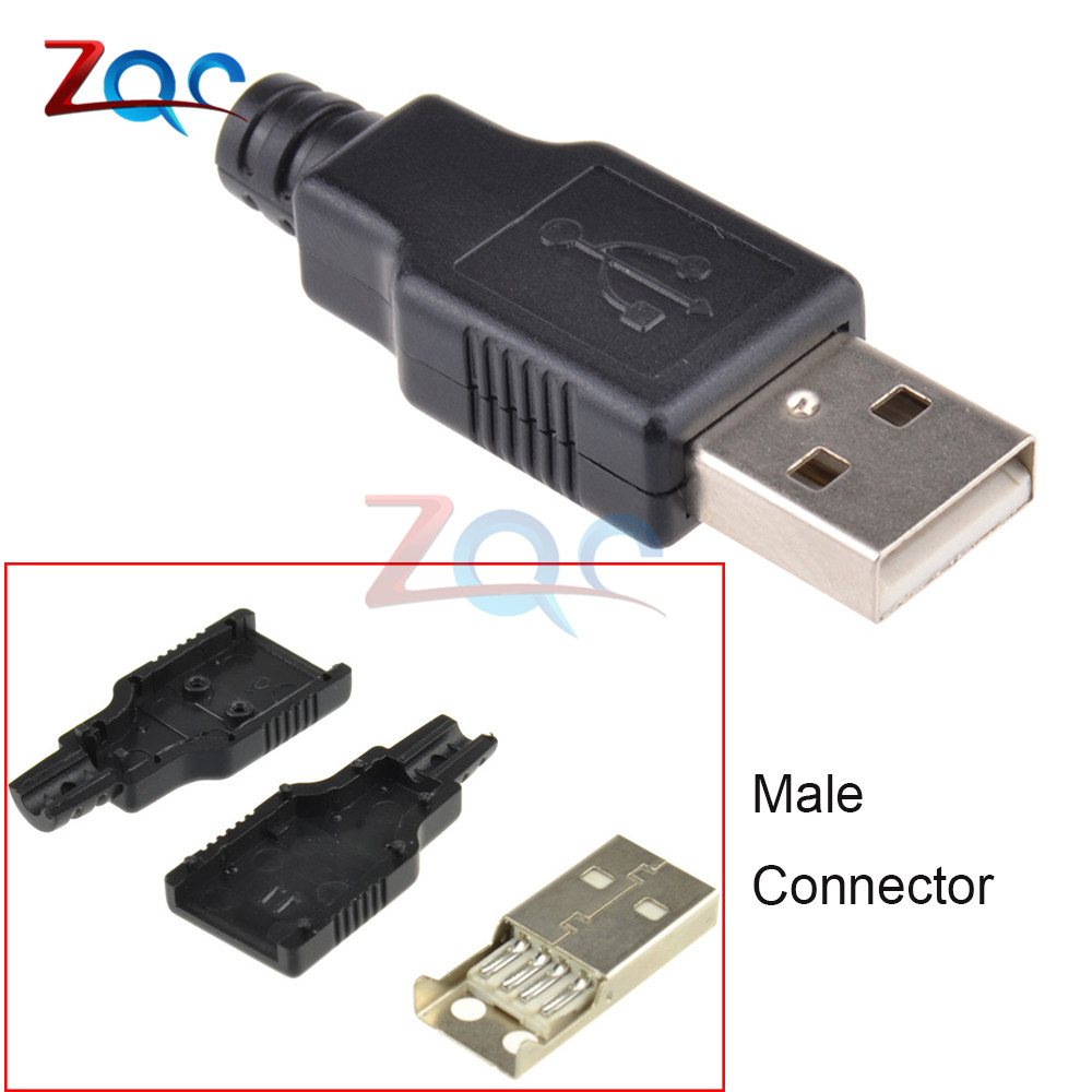10Pcs USB 2.0 Type A 4 Pin Male Three Types Plug Connector For Cable DIY