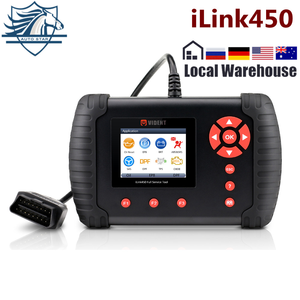VIDENT iLink450 Full System Diagnostic Tool Oil Reset EPB ABS SRS SAS TPS  BRT Airbag Reset Throttle