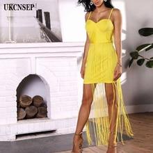 UKCNSEP 2018 New Chic Summer Yellow Halter Tassel Black Sleeveless White Evening Party Women Bandage Dress Vestidos