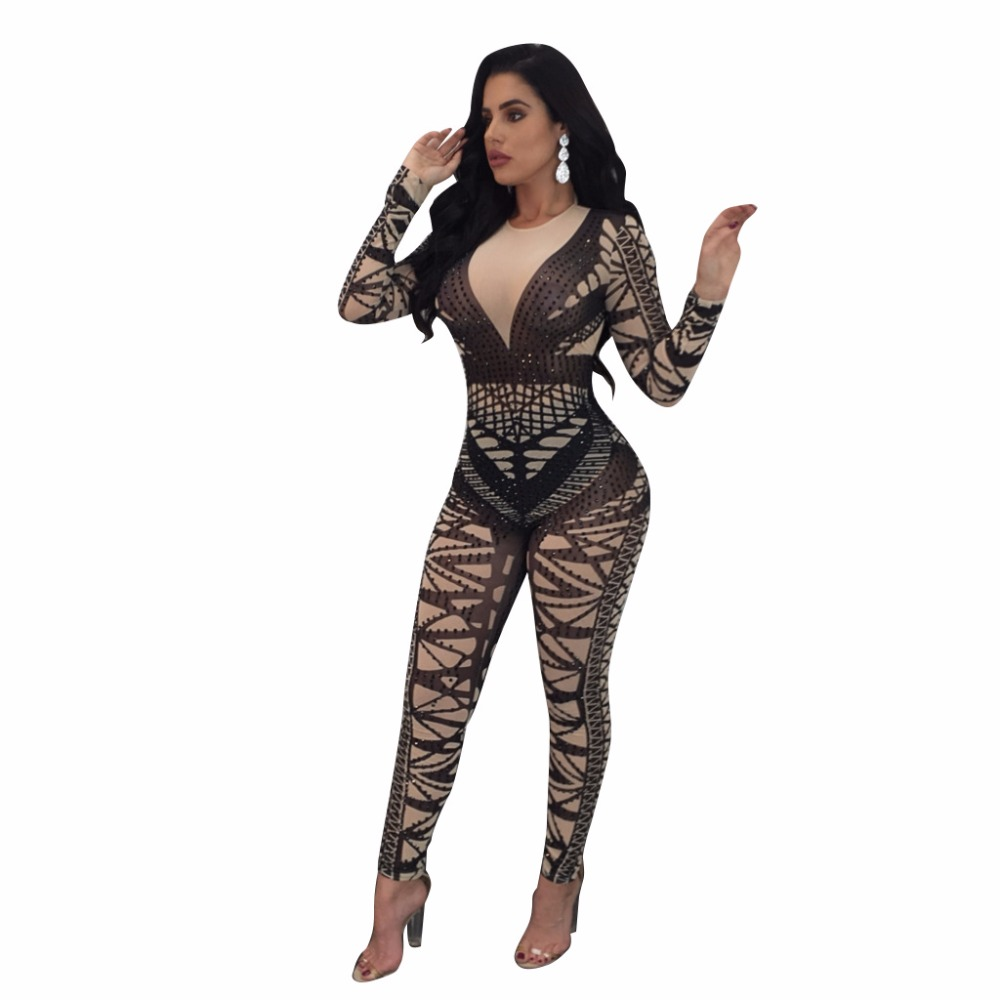 Women's   jumpsuit   long sleeve Geometric pattern sexy tight-fitting nightclub clothes Women's sexy   jumpsuit