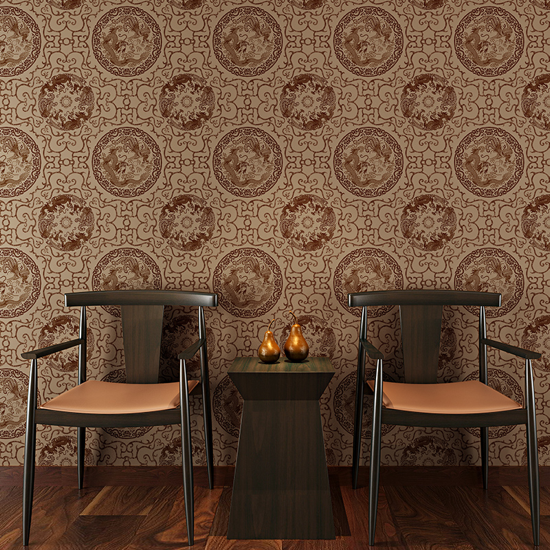New Retro Vintage Chinese Totem Wallpaper Chinese Study Room Chess Room Tea Room Hotel TV Background Wall Paper in Wallpapers from Home Improvement