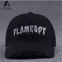 Cotton Fitted Snapback Baseball Cap For Men And Women Letter FLAMEBOY Embroidery Hats Black White Summer Hat
