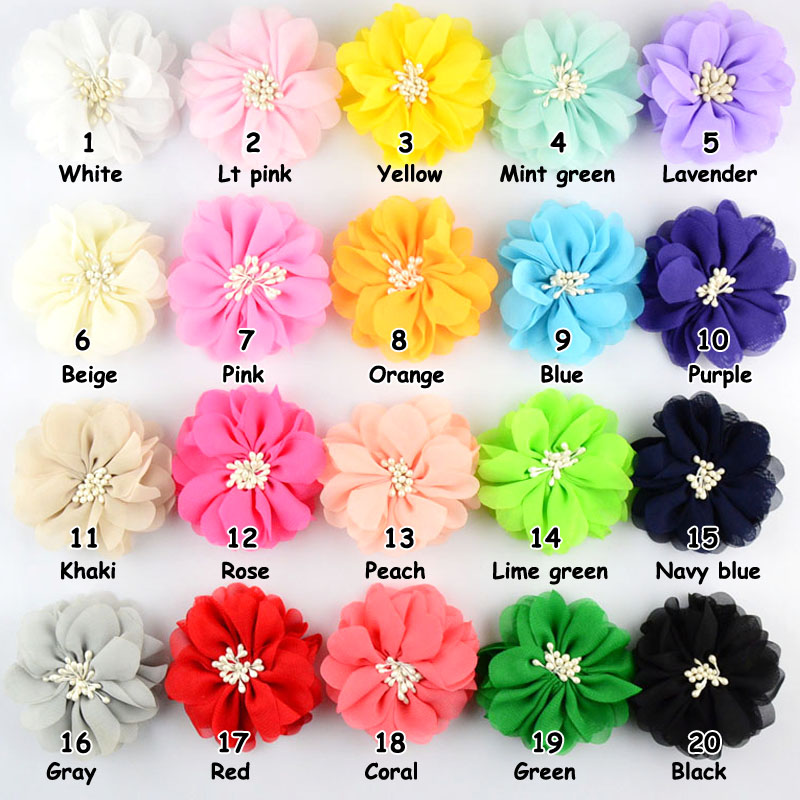 20pcs/lot 2.76 Inch Boutique Girls Hair Flower Without Clip 20C Artificial Chiffon Flowers For Kids Head Beauty Accessory TH11